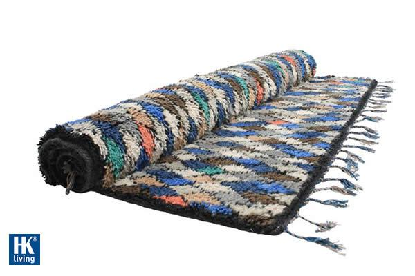 Multicolored checkered woolen carpet (170x240cm)