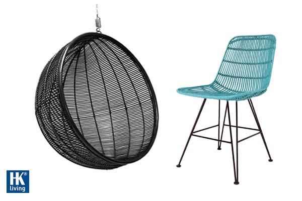 Rattan dining chair, ocean green Rattan hanging bowl chair, black