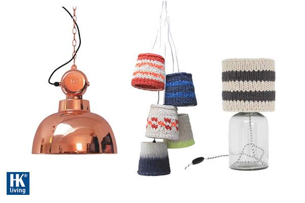 Knitted lamp shade with bottle lamp base 5 knitted lamp shades ceiling lamp lamp 'Factory' M copper