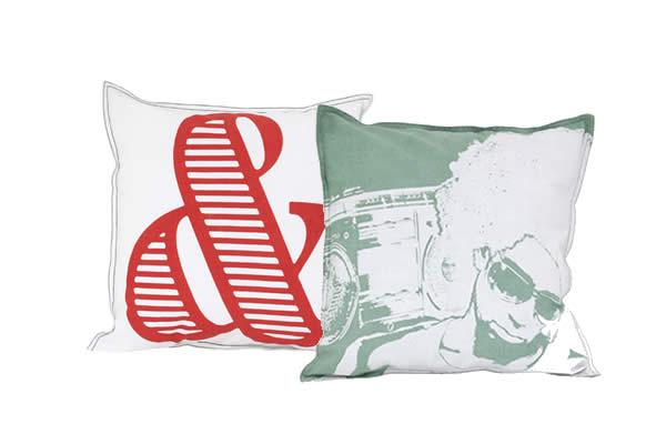 Printed cushion green/ white photo 45x45cm Printed cushion white/red 45x45cm