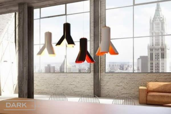 "The BOKY lamp, with a very striking shape with 3 ""legs"", consists of an aluminium shell-structure in white or black with a white, orange or red inner body. BOKY brings a fresh accent to any interior and is perfectly suited in shops, commercial spaces and creative offices, as well as in kitchens and dining rooms."