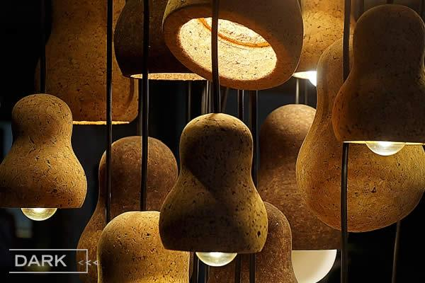 CAPTAIN CORK is a ceiling lamp created from large pieces of cork, showcasing the natural beauty of cork.