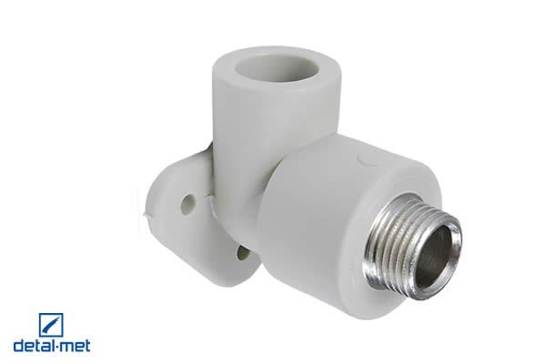 Polypropylene (PP-R) type 3 externally screwed elbow with a hanger Diameters available: 16×1/2″, 20×1/2″, 20×3/4″, 25×1/4″, 25×3/4″