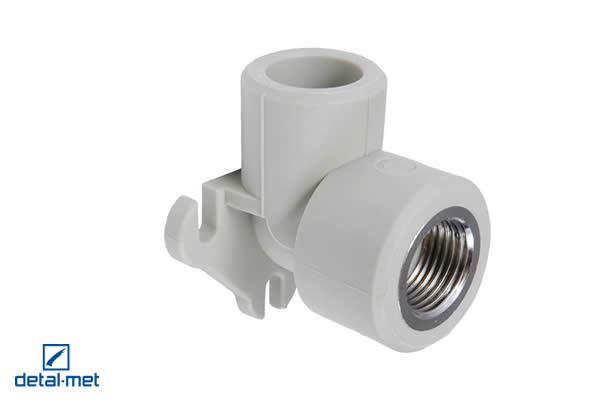 Polypropylene (PP-R) type 3 internally screwed elbow with a hanger Diameters available: 16×1/2″, 20×1/2″, 20×3/4″, 25×1/4″, 25×3/4″