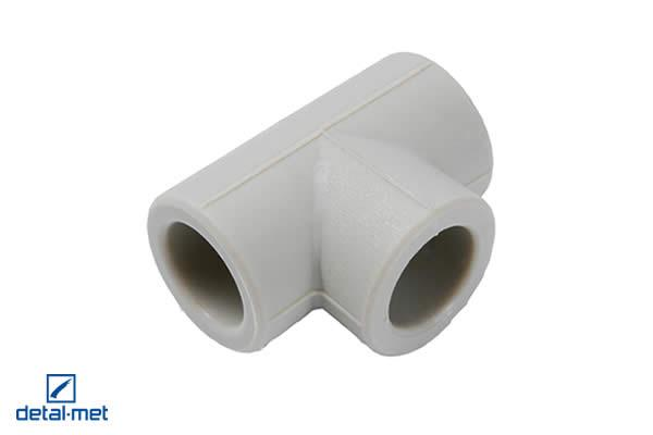 Polypropylene (PP-R) type 3 Tee join Diameters available: 16, 20, 25, 32, 40, 50, 63, 75, 90, 110