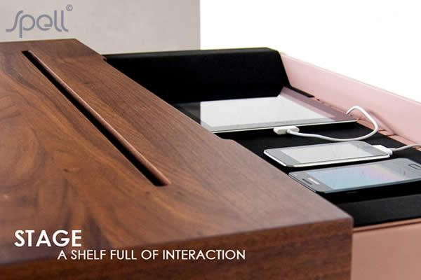 The 'STAGE' Interactive Shelf is an elegant meeting place for all your re-chargeable handheld devices. The Stage Interactive Shelf is easy to mount on most common walls and in the living room, in the hallway, next to the sofa or two on each side of your bed.