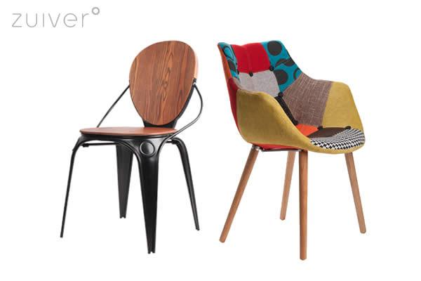 Chair Louix, inspired by an industrial classic, with a comfy wooden seating and detailing, Louix comes as chair, armchair in various colours. Chair Eleven comes in four different colours and in two different styles: patchwork, colourful, grey or leather in black or white.