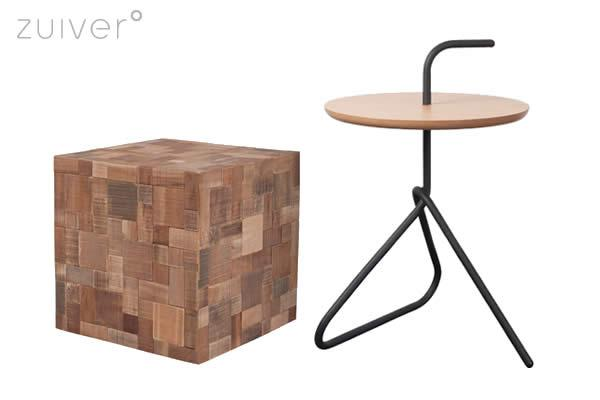 The Mosaic table is a perfect square and constructed out of recycled teak and acacia wooden tiles which gives Mosaic its pretty colour shades. The Handle is a cute and handy little side table that is good looking too