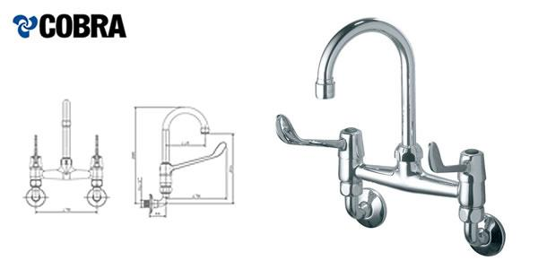 Elbow action, progressive control wall type mixer with underarm swivel outlet